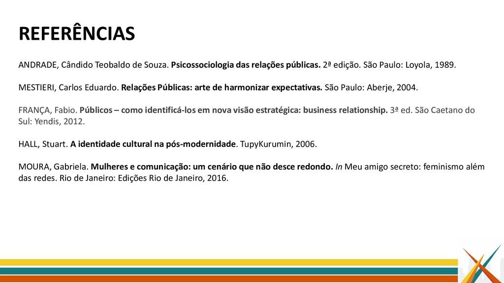 REFERÊNCIAS ANDRADE, Cândido Teobaldo de Souza....