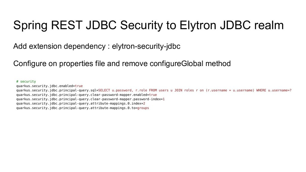 Spring REST JDBC Security to Elytron JDBC realm...