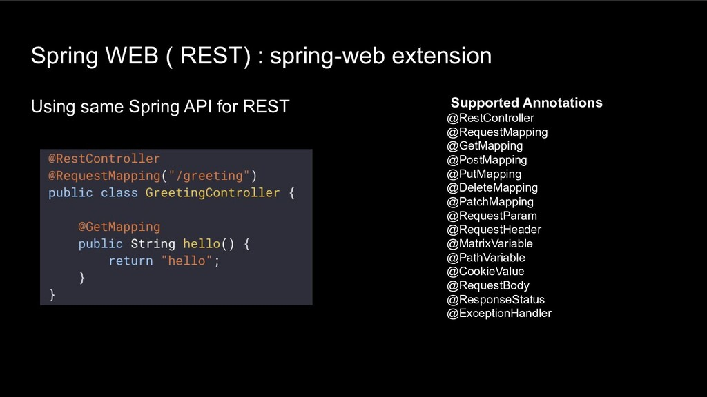 Spring WEB ( REST) : spring-web extension Using...