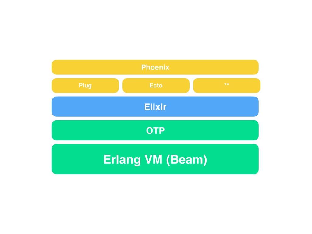 Erlang VM (Beam) OTP Elixir Phoenix Plug Ecto **