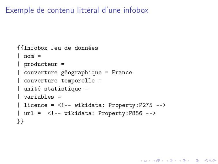 Exemple de contenu littéral d'une infobox {{Inf...