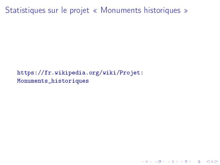 Statistiques sur le projet « Monuments historiq...