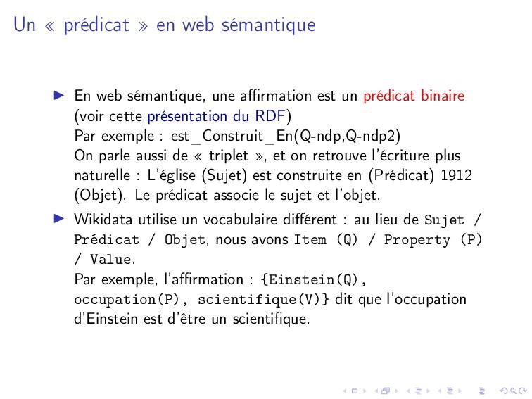Un « prédicat » en web sémantique En web sémant...