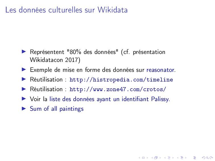 Les données culturelles sur Wikidata Représente...