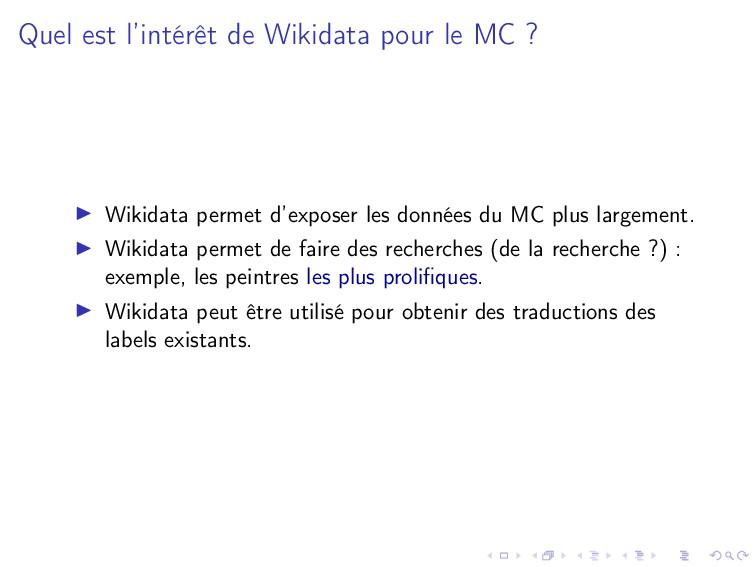 Quel est l'intérêt de Wikidata pour le MC ? Wik...
