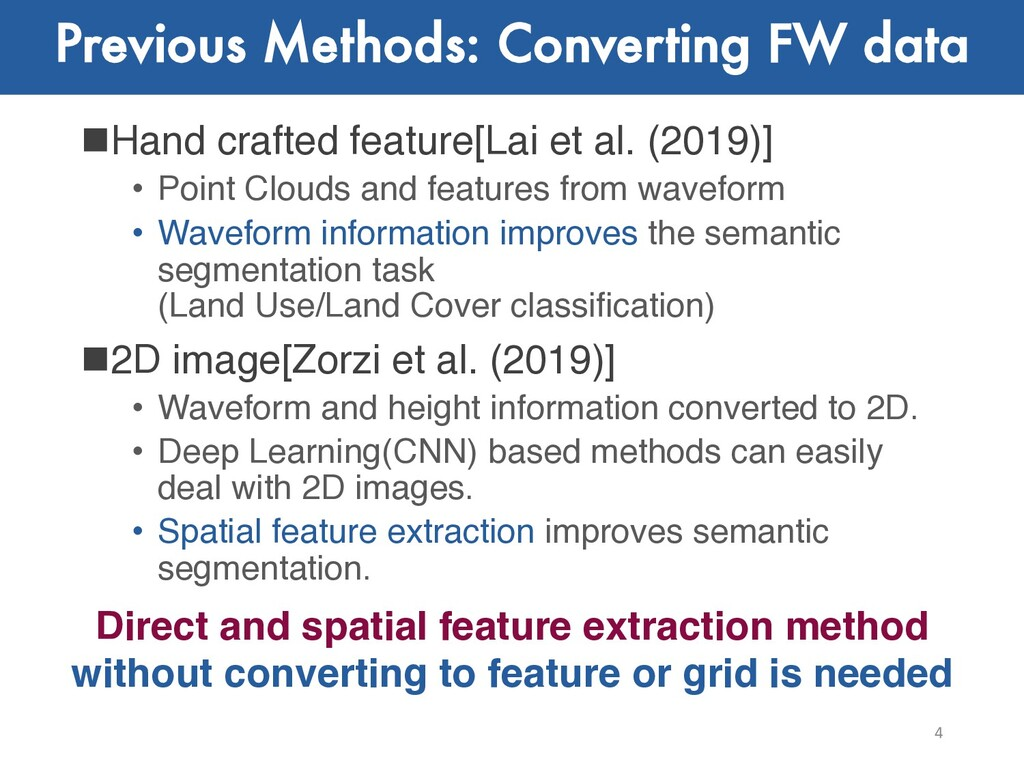 Previous Methods: Converting FW data nHand craf...