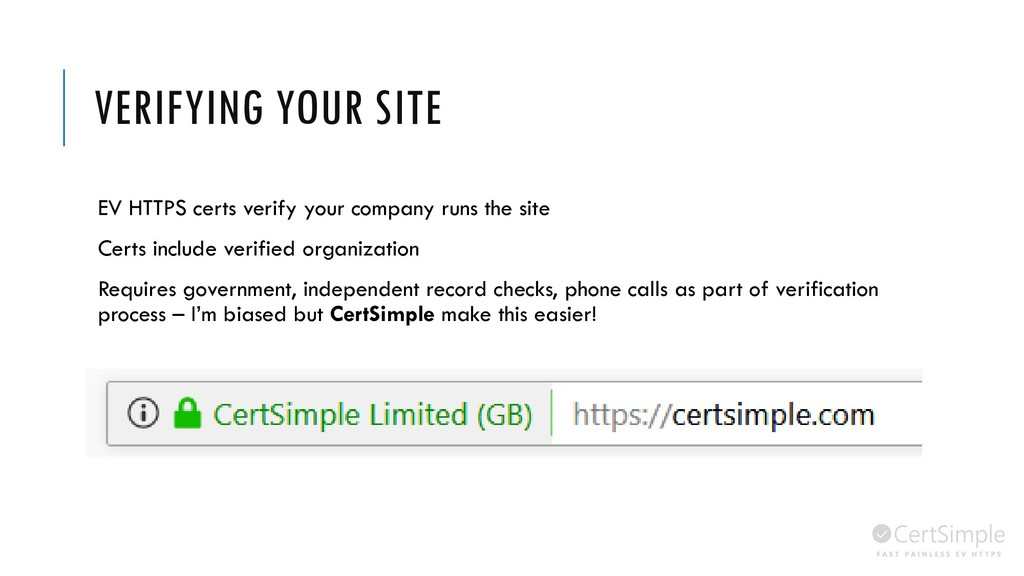 VERIFYING YOUR SITE EV HTTPS certs verify your ...