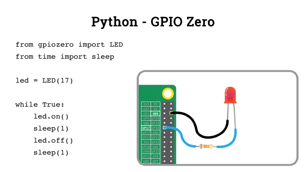 Python - GPIO Zero from gpiozero import LED fro...
