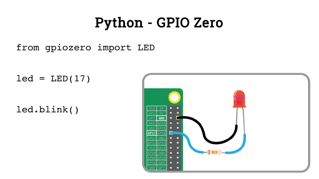 Python - GPIO Zero from gpiozero import LED led...