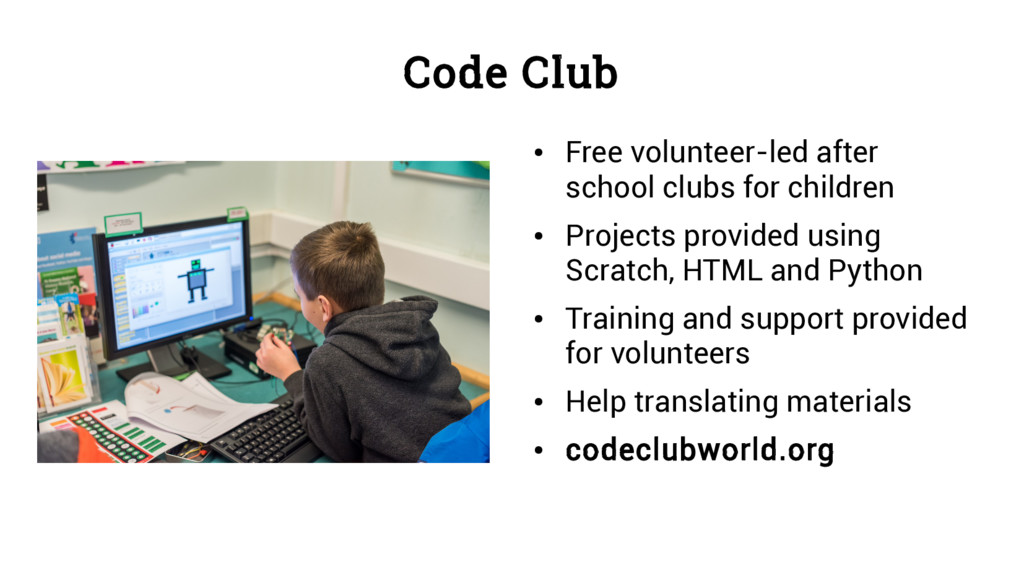 Code Club ● Free volunteer-led after school clu...