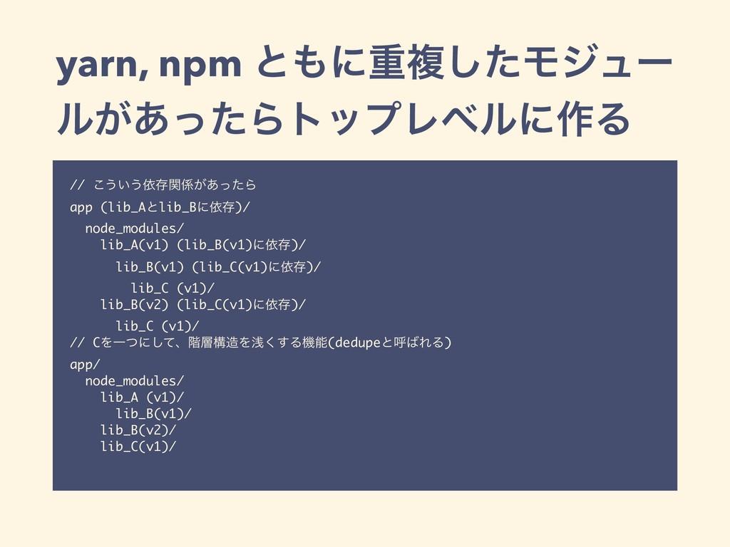 yarn, npm ͱʹॏෳͨ͠Ϟδϡʔ ϧ͕͋ͬͨΒτοϓϨϕϧʹ࡞Δ // ͜͏͍͏ґଘ...
