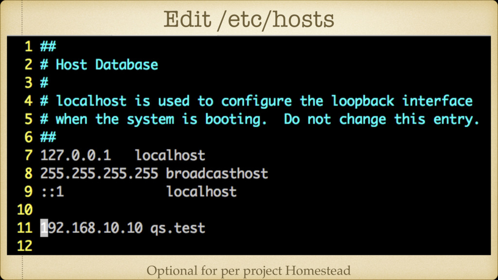 Edit /etc/hosts Optional for per project Homest...