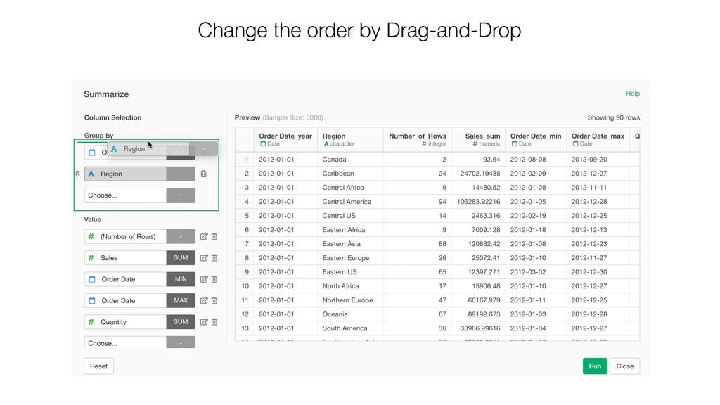 Change the order by Drag-and-Drop