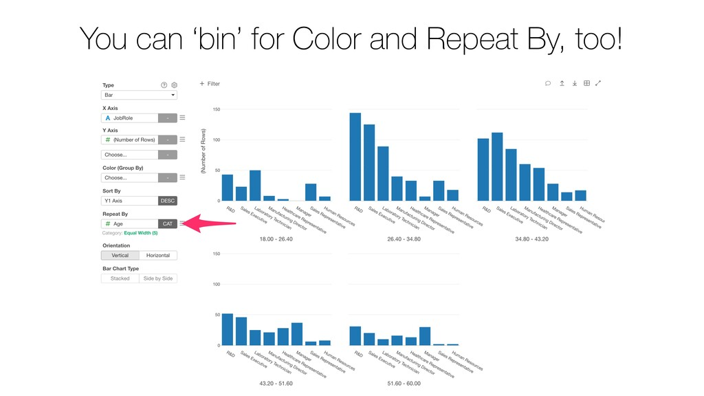 You can 'bin' for Color and Repeat By, too!