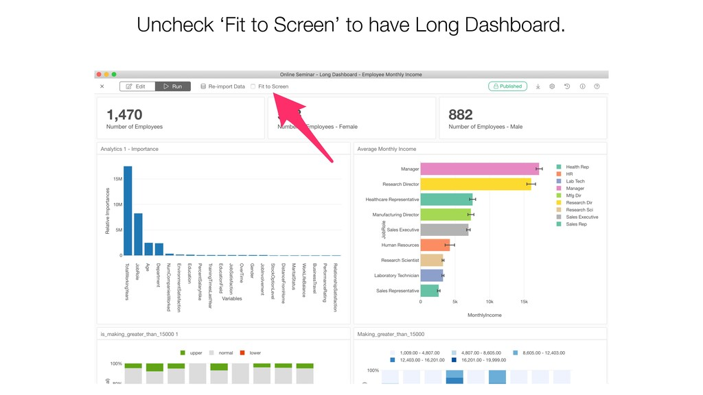 Uncheck 'Fit to Screen' to have Long Dashboard.