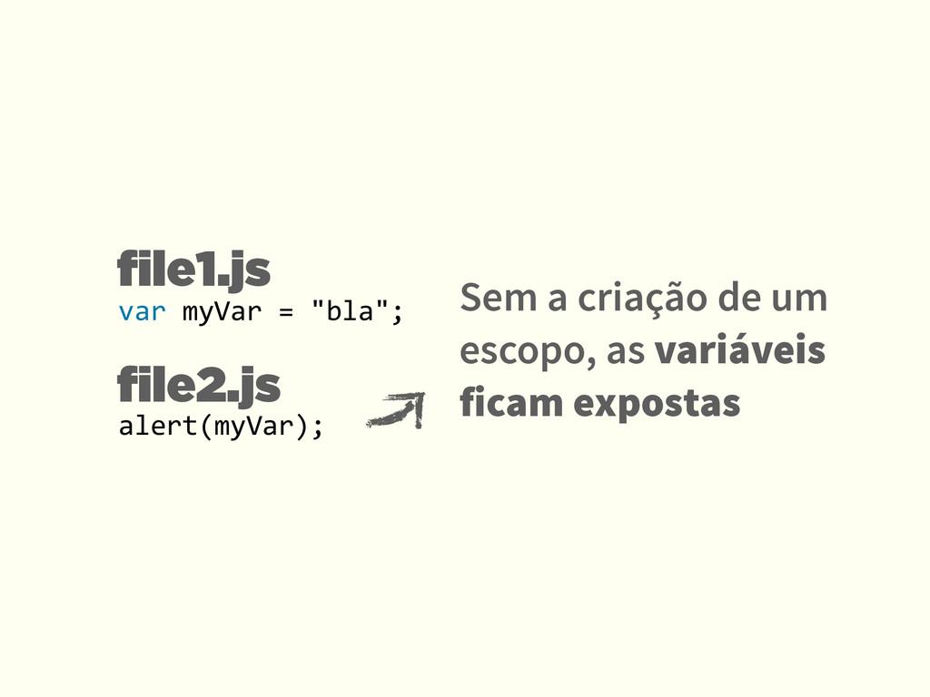 file1.js file2.js Sem a criação de um escopo, as ...