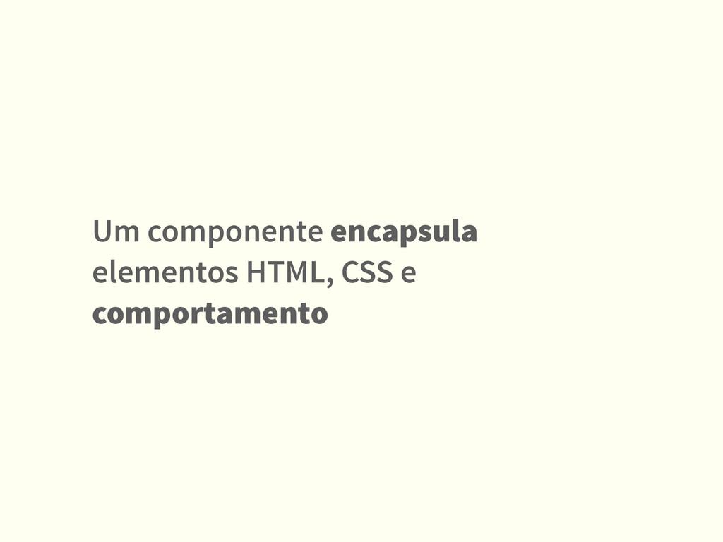 Um componente encapsula elementos HTML, CSS e c...
