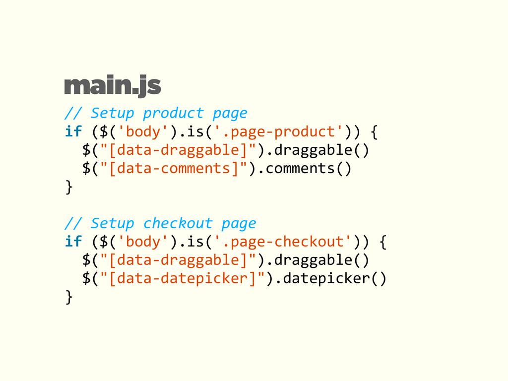 main.js // Setup product page  if...