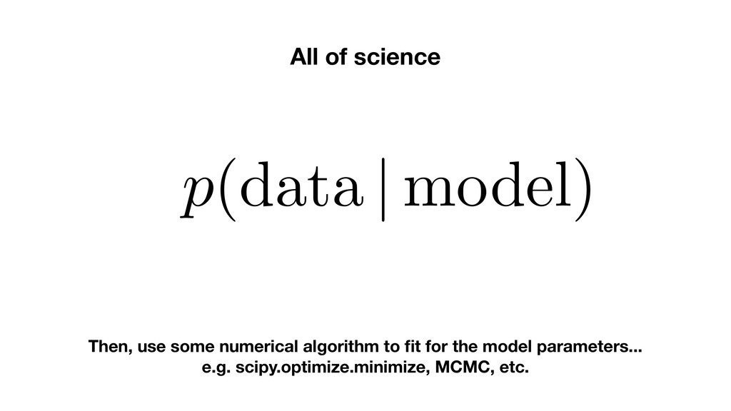 All of science p(data | model) Then, use some n...