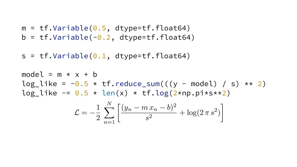 m = tf.Variable(0.5, dtype=tf.float64) b = tf.V...