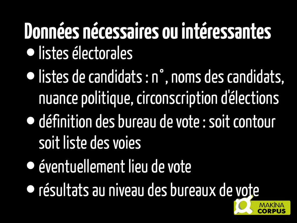 •listes électorales •listes de candidats : n°, ...