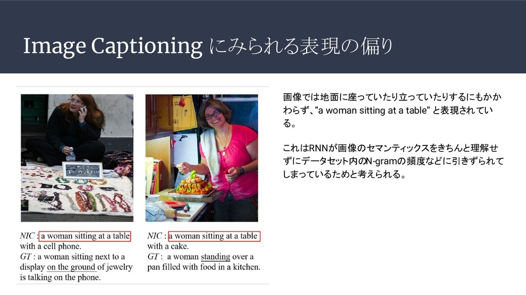 Image Captioning にみられる表現の偏り 画像では地面に座っていたり立っていたり...