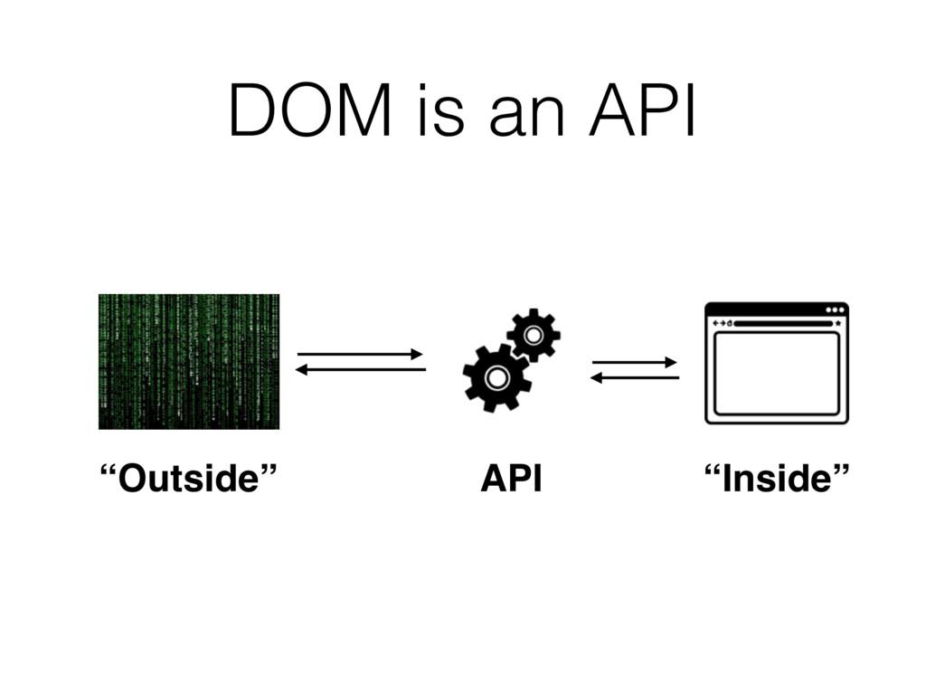 """API """"Outside"""" """"Inside"""" DOM is an API"""