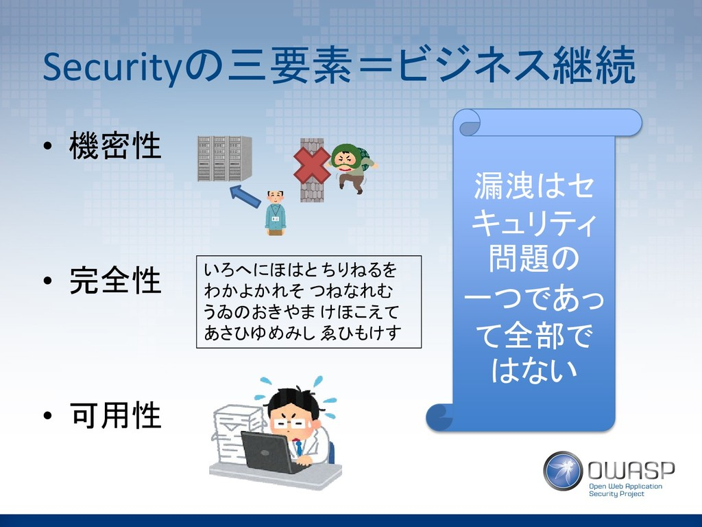 Securityの三要素=ビジネス継続 • 機密性 • 完全性 • 可用性 いろへにほはと ち...
