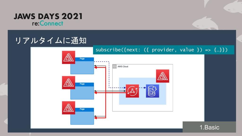 リアルタイムに通知 subscribe({next: ({ provider, value }...