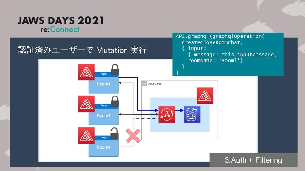 認証済みユーザーで Mutation 実行 API.graphql(graphqlOperat...
