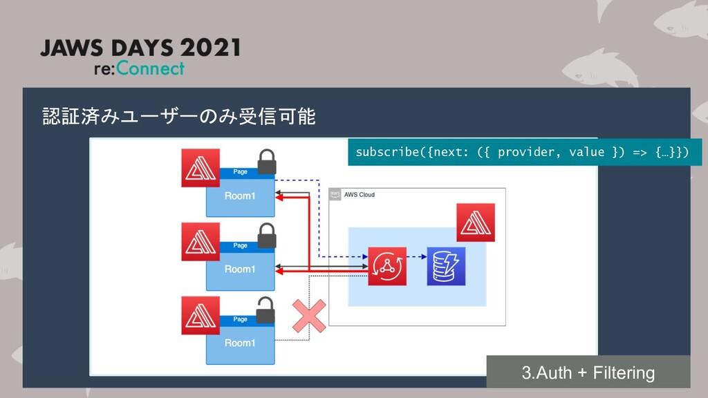 認証済みユーザーのみ受信可能 subscribe({next: ({ provider, va...