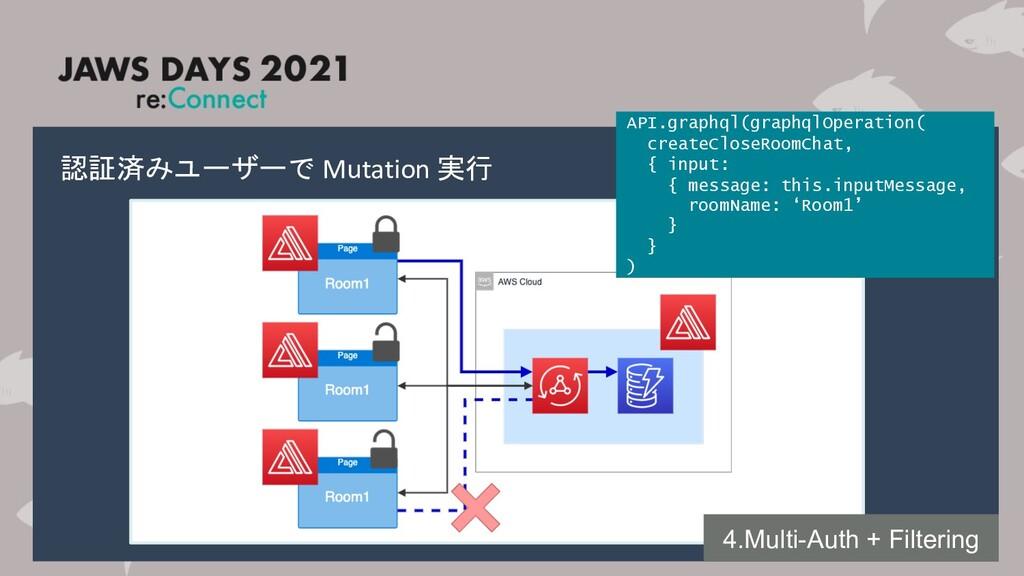 認証済みユーザーで Mutation 実行 4.Multi-Auth + Filtering ...