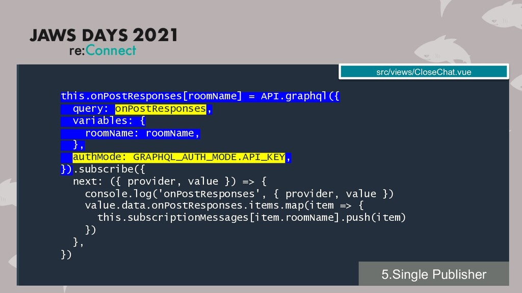 this.onPostResponses[roomName] = API.graphql({ ...