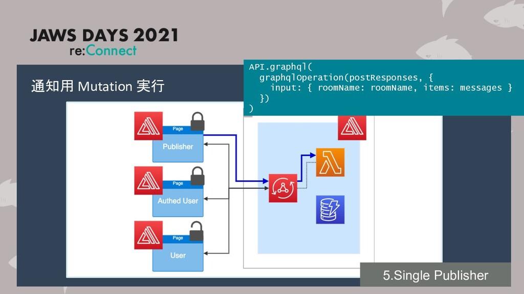 通知用 Mutation 実行 API.graphql( graphqlOperation(p...