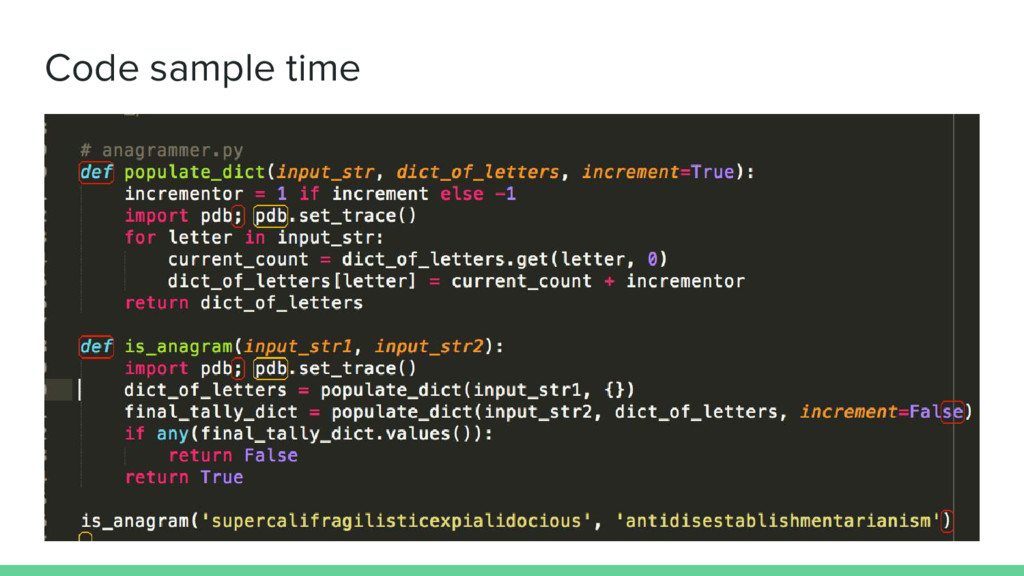 Code sample time