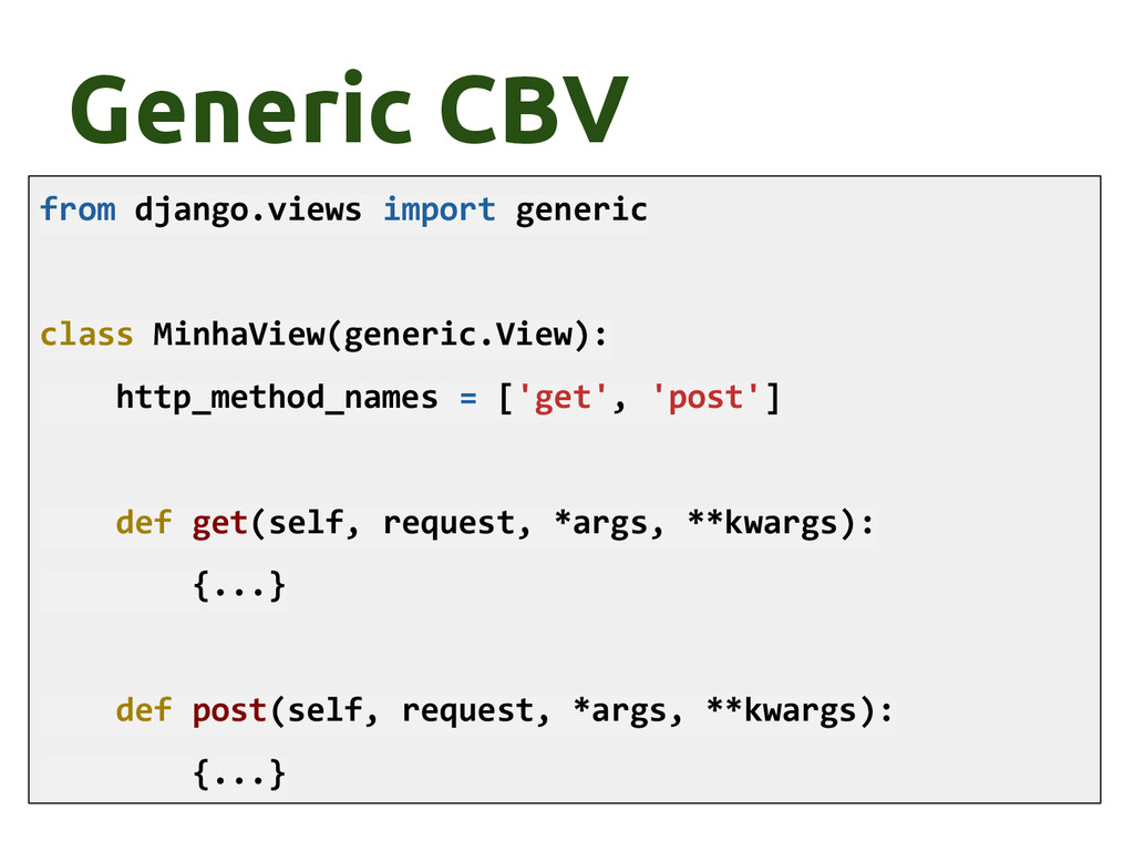 Generic CBV from django.views import generic cl...