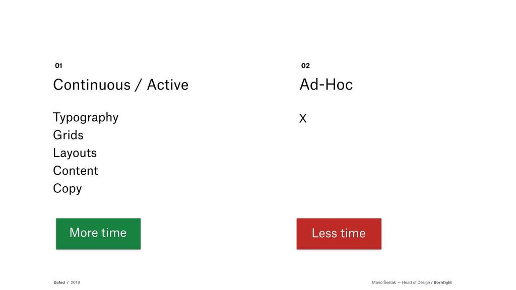 More time Continuous / Active 01 Ad-Hoc 02 X Le...