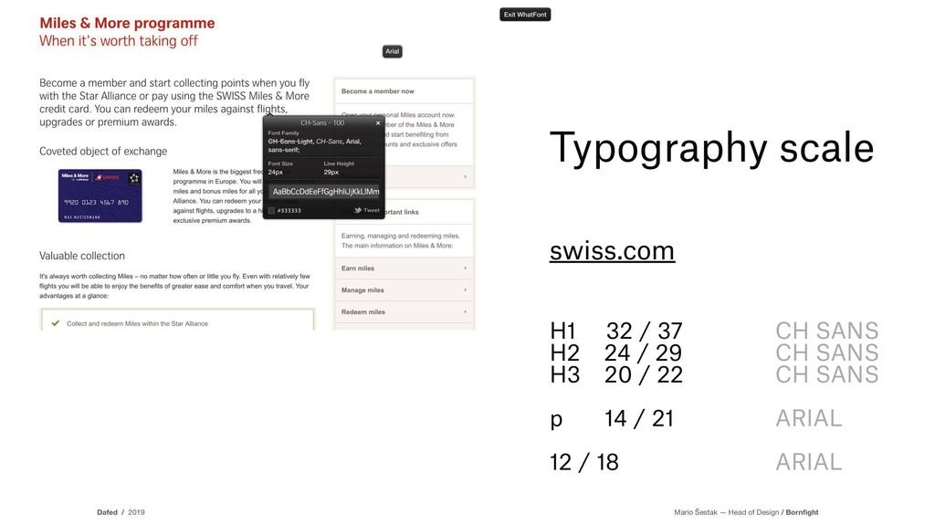 Typography scale swiss.com H1 32 / 37 H2 24 / 2...