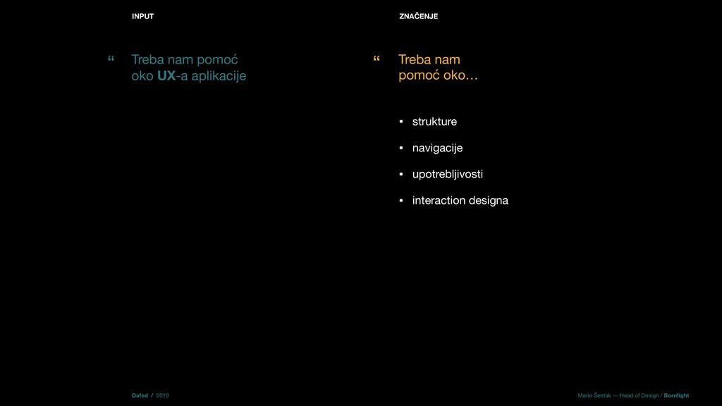 INPUT • strukture  • navigacije   • upotrebljiv...