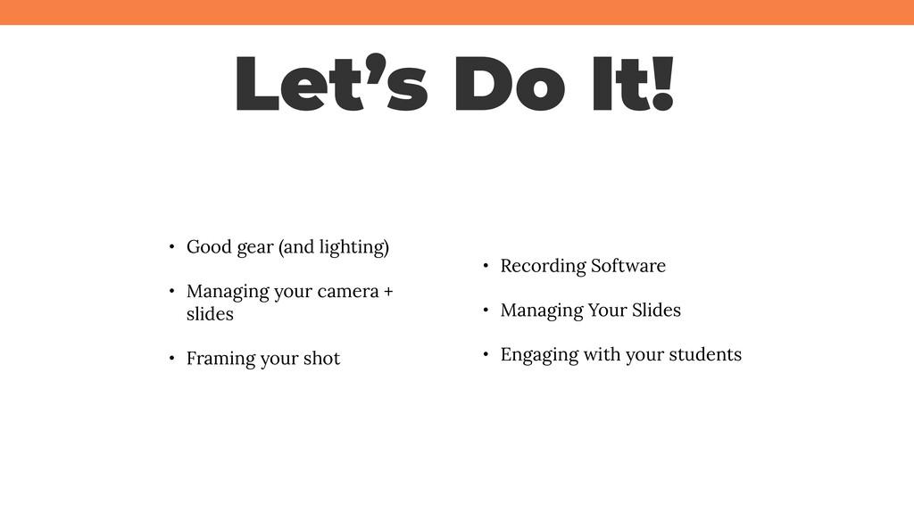 @jcasabona Let's Do It! • Good gear (and lighti...