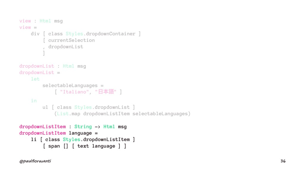 view : Html msg view = div [ class Styles.dropd...