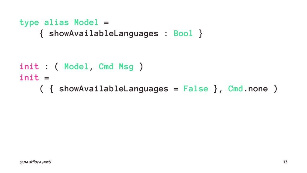 type alias Model = { showAvailableLanguages : B...