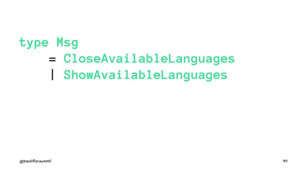 type Msg = CloseAvailableLanguages | ShowAvaila...