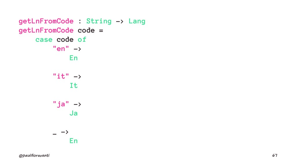 getLnFromCode : String -> Lang getLnFromCode co...