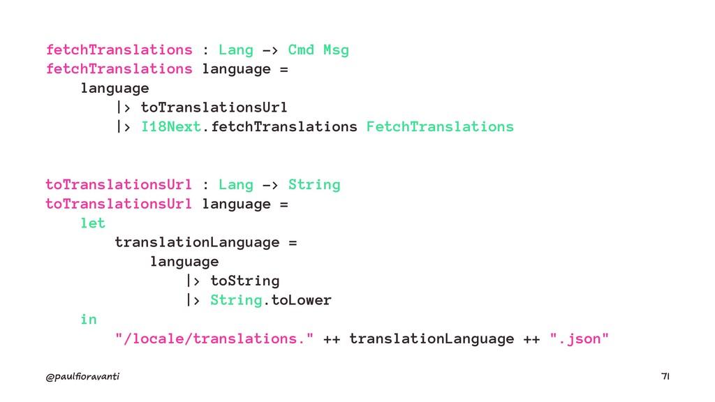 fetchTranslations : Lang -> Cmd Msg fetchTransl...