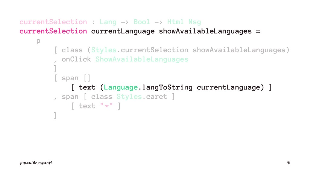 currentSelection : Lang -> Bool -> Html Msg cur...