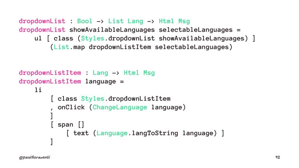 dropdownList : Bool -> List Lang -> Html Msg dr...