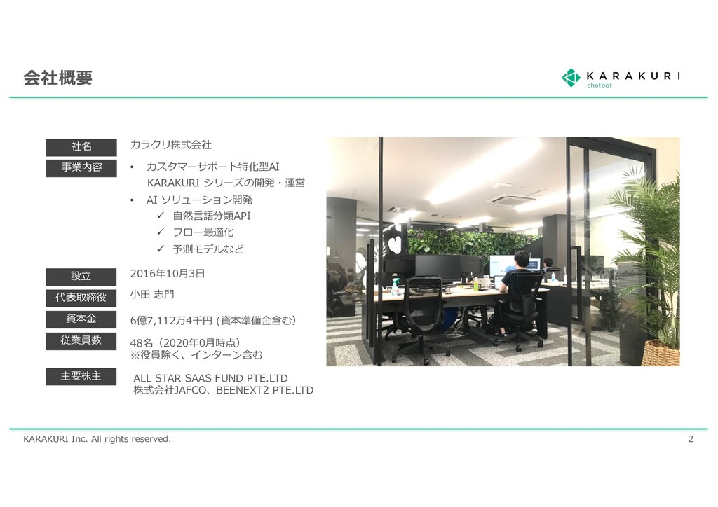 KARAKURI Inc. All rights reserved. 2 会社概要 社名 事業...