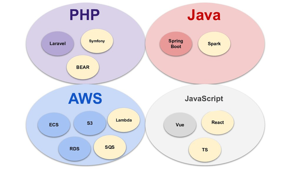 PHP Java AWS Laravel Spring Boot Vue ECS S3 Sym...
