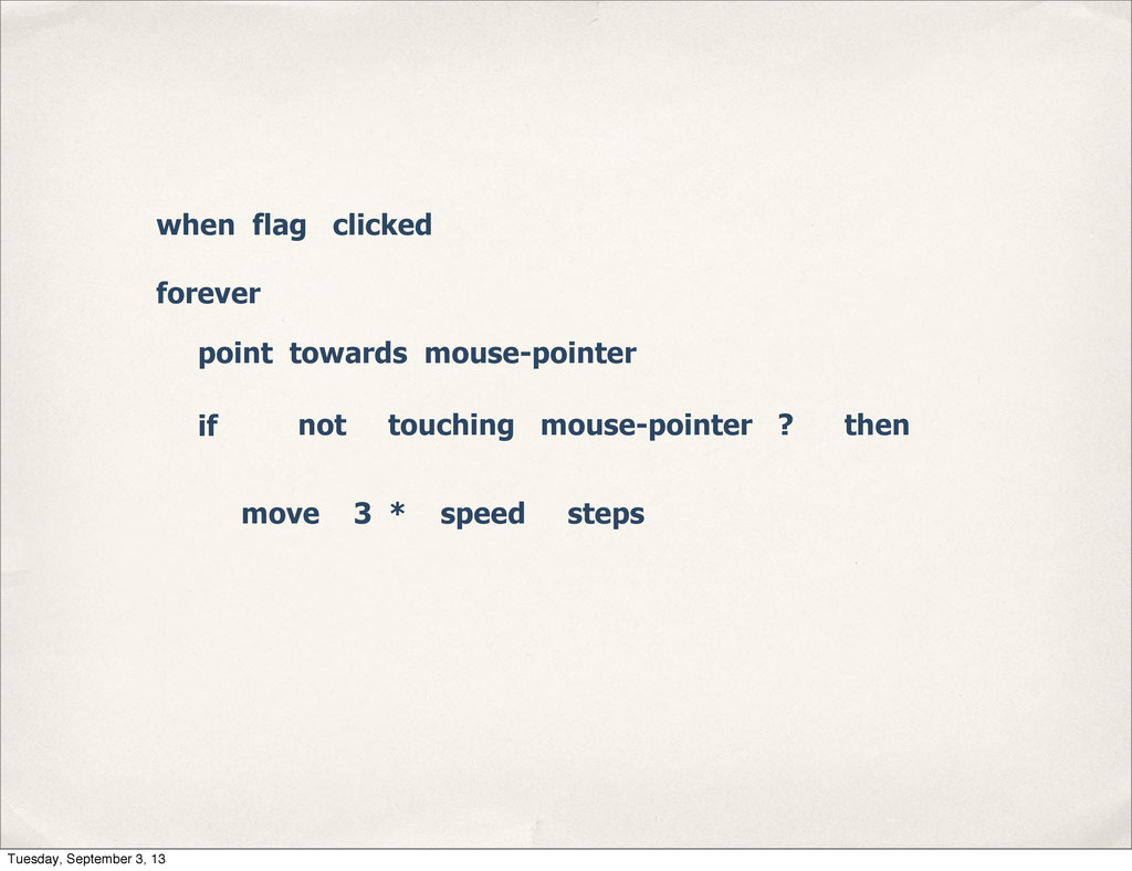 when flag clicked forever point towards mouse-p...
